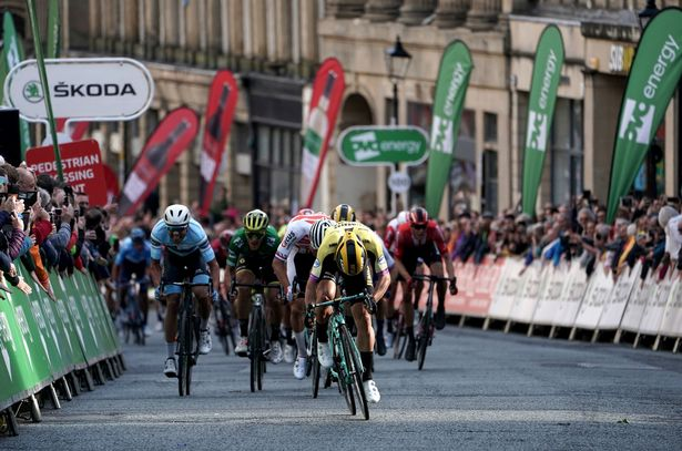 Team Jumbo-Vism's Dylan Groenewegen crosses to finishing line to win the stage during stage three of the OVO Energy Tour of Britain from Berwick-Upon-Tweed to Newcastle-Upon-Tyne
