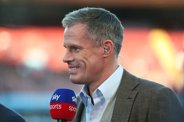 Jamie Carragher working for Sky Sports during the Premier League match between Aston Villa and Everton FC at Villa Park on August 23, 2019 in Birmingham, United Kingdom