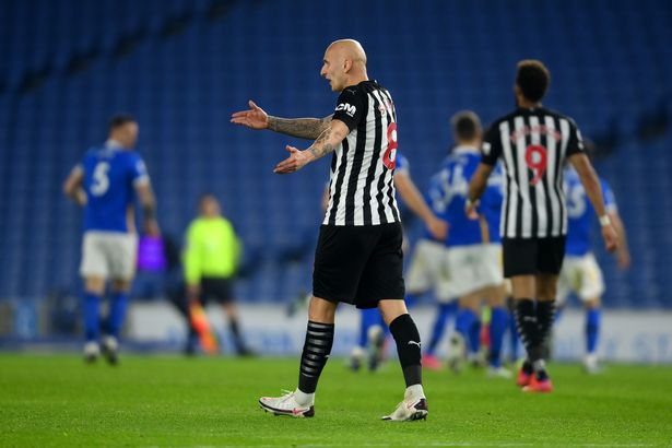 Newcastle United's Jonjo Shelvey reacts after conceding a second goal in the Premier League match between Brighton & Hove Albion and Newcastle United