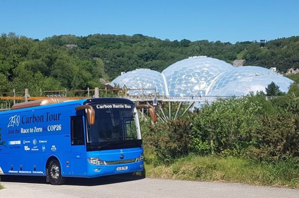 """The Carbon Battle Bus which is """"stranded"""" at the Eden Project after being unable to find a charging point"""