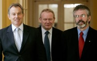 British Prime Minister Blair goes to Downing Street 10 with Sinn Fein's Adams and McGuinness