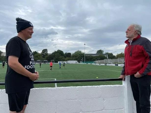 Ian Hamilton (right) speaks to Derek King at Cumnock Juniors