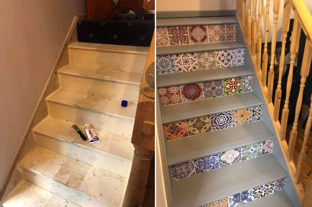 Diy Fan Gives Staircase Massive Makeover By Using £12 Carpet Tiles | Carpet Tiles For Stairs | 18 Inch | Interior | Contemporary | Children's | Tile Stair Treads