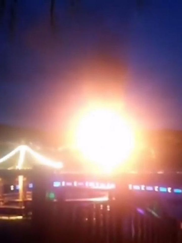 The first gas cylinder exploded at about 6:10pm on Monday evening