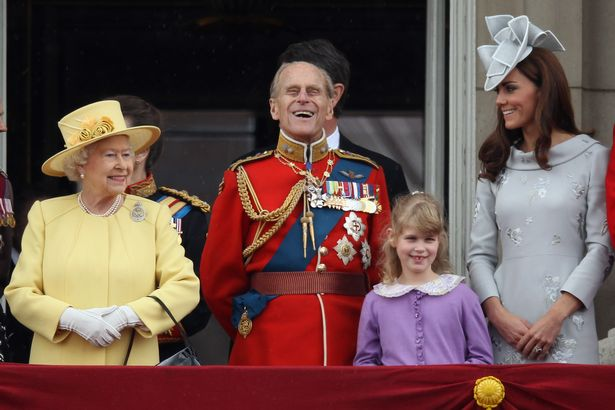 The Queen, Kate Middleton and Prince Philip at Trooping the Colour in 2012
