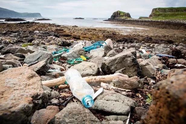 Plastic waste on beaches in Scotland