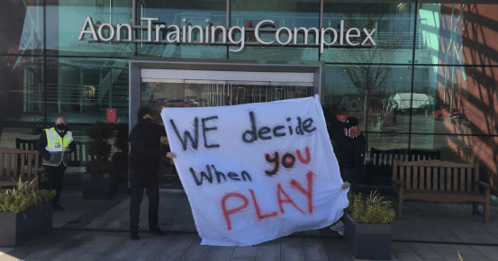 Man Utd fans blocked entrances to the Carrington test site in protest against the Glazers