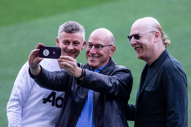 Ole Gunnar Solskjr takes a selfie with Avram Glazer (R) owner of Manchester United during the training session before the second leg Champions League match of Quarter final between FC Barcelona and Manchester United in Camp Nou Stadium in Barcelona 15 of April of 2019, Spain.