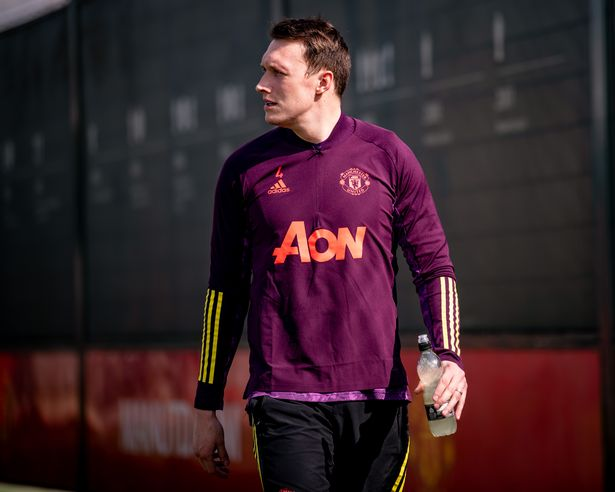 Phil Jones of Manchester United in action during a first team training session at Aon Training Complex on April 14, 2021 in Manchester, England.