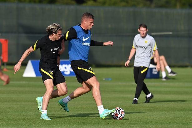 Conor Gallagher and Ross Barkley of Chelsea during a Training ground pre season friendly match between Chelsea FC and Chelsea FC at Carton House on July 22, 2021 in Dublin, Ireland.