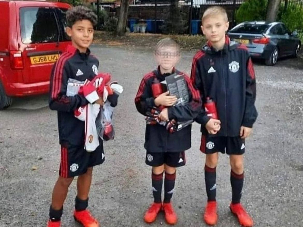 Cristiano Ronaldo Jr arrives at Man Utd academy and poses in kit with  Nemanja Matic's son - Daily Star