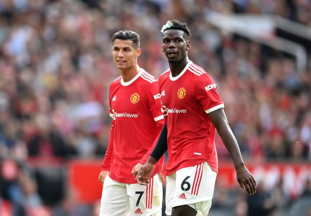 Cristiano Ronaldo and Paul Pogba of Manchester United look on during the Premier League match between Manchester United and Newcastle United at Old Trafford on September 11, 2021 in Manchester, England.