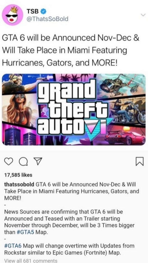 CAPTION: Instagram account suspended after leaking top-secret details of GTA 6: when will it be released, size of map, and setting WARNING COLLECT IMAGE TAKEN FROM INSTAGRAM