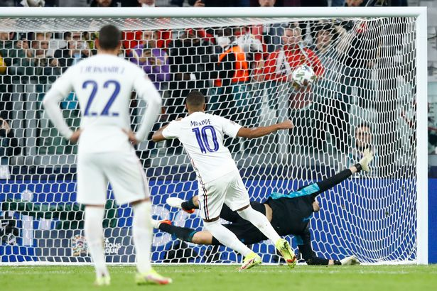 The PSG prodigy scored a penalty and grabbed an assist as France won 3-2