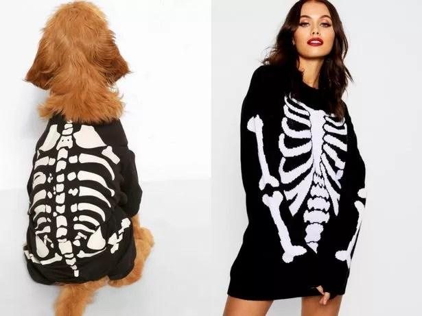 Model and dog wear skeleton Halloween costumes