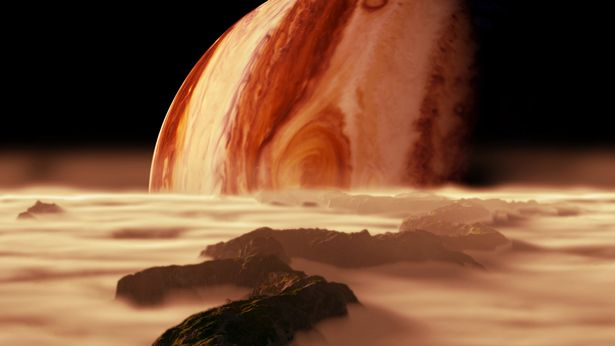 An artist's impression of what Jupiter ight look like from one of its moons