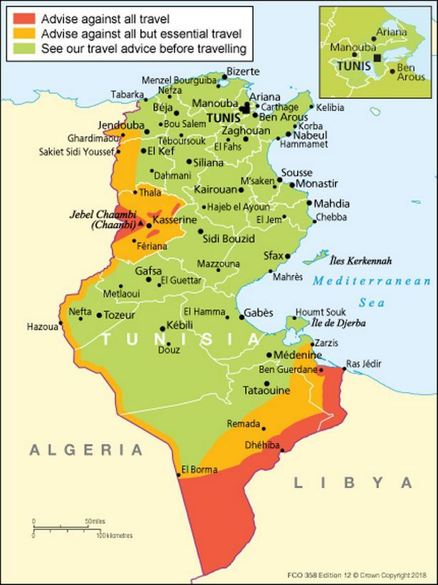 The UK Foreign Office's advice on where to avoid in Tunisia