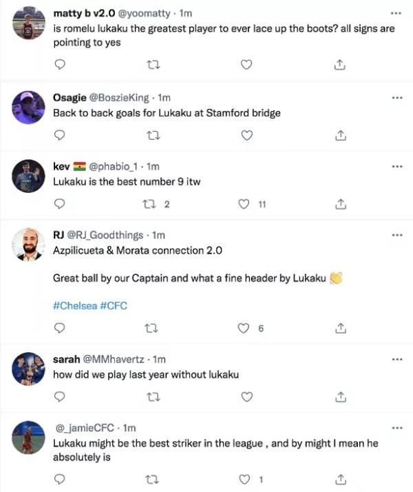 Chelsea fans react to Lukaku goal