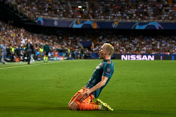 Donny van de Beek celebrates the Ajax scoring in the Champions League.