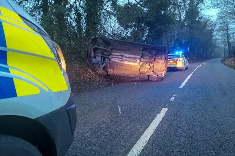 Car overturns to avoid pheasant