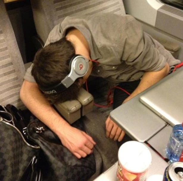 One Direction's Harry Styles posts a picture on Twitter of Liam Payne asleep on the Eurostar