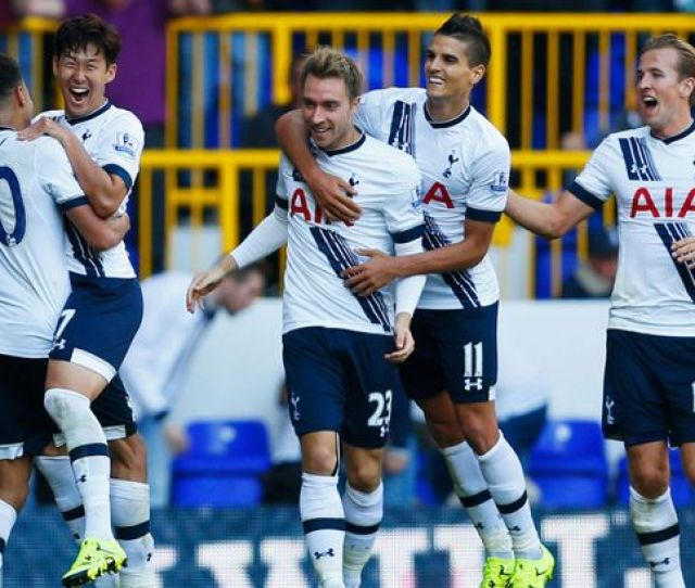 Son Heung Min Celebrates Scoring The Opening Goal With Dele Alli