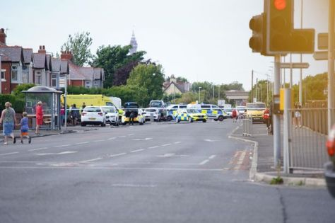 The scene of the crash on St Anne's Road in Blackpool