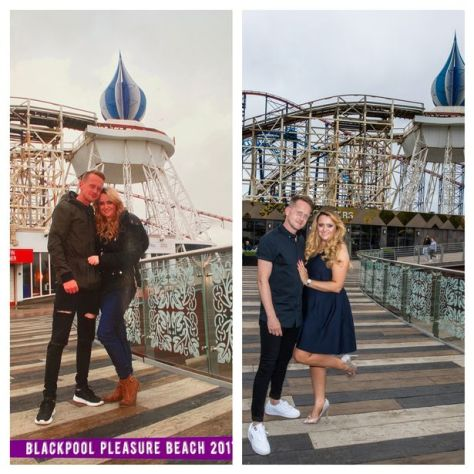 Left: Emma and Shane on their first date at the Pleasure Beach Right: Emma and Shane during pre-wedding photoshoot