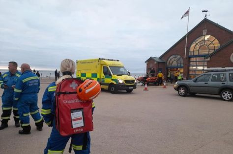 Upon arrival on shore, the two people were passed into the care of paramedics