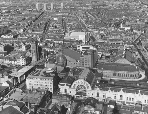 An aerial view of the Winter Gardens in Blackpool during the 1960s.