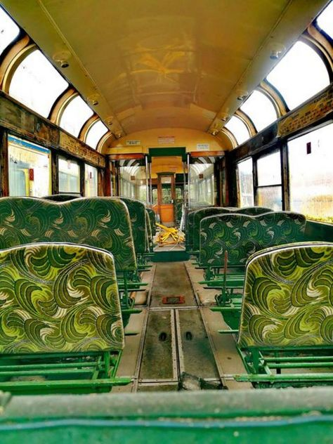 Old fashioned tram seats