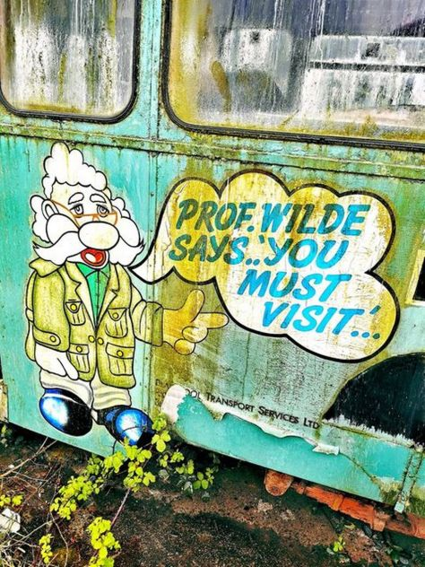 Professor Wilde painted on the side of an old tram