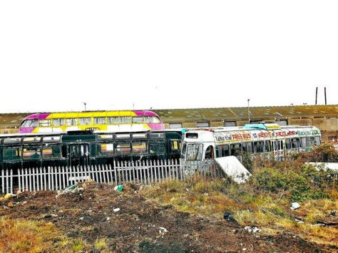 Colourful display of old trams in Fleetwood Dock area