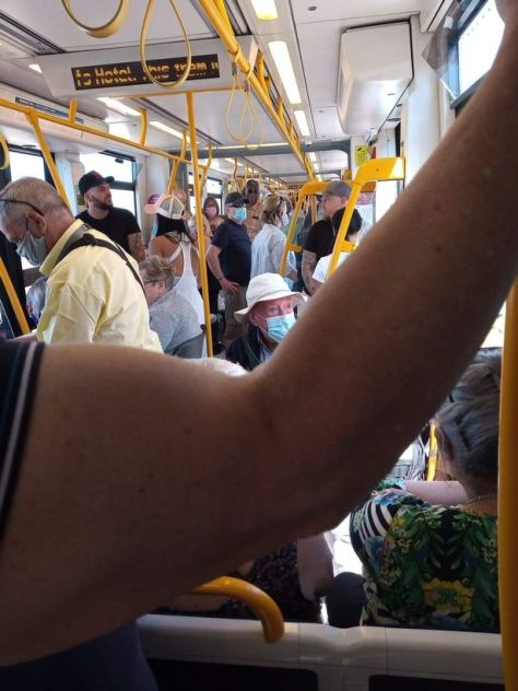 Picture taken by one commuter's parents who are classed as vulnerable to Covid-19 of a crowded tram in Blackpool