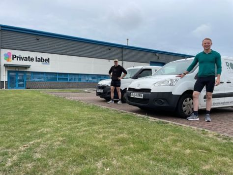 James Baker, 35, (left) and John Darwen (right), 30 outside Private Label Nutrition is often a starting point for the pair on their training sessions around Amy Johnson Way in Blackpool
