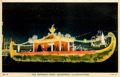 The elegant Gondola Tram as pictured on an old postcard