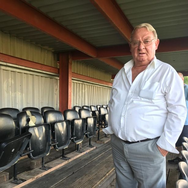 Club chairman Pat Darby, 82, who has been connected with the club for almost 50 years, surveys the latest damage at Thurnby Rangers Football Club in Thurnby Lodge