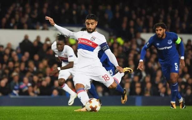 Nabil Fekir of Lyon scores at Everton earlier this season