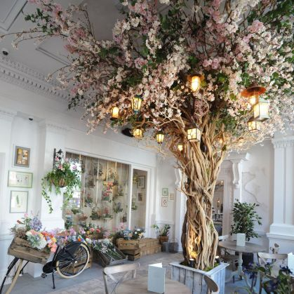 The Florist - instagrammable Liverpool restaurant with floral theme and decorative trees