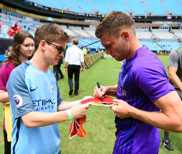 James Milner Signing Autographs Before The International Champions Cup  Match Between Liverpool And Borussia Dortmund