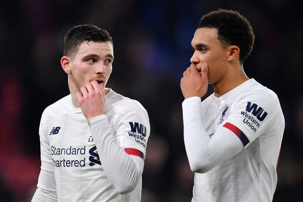 Andy Robertson and Trent Alexander-Arnold of Liverpool