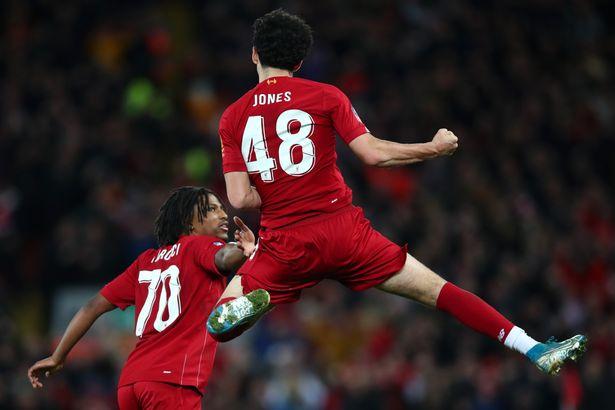 Curtis Jones of Liverpool celebrates after scoring