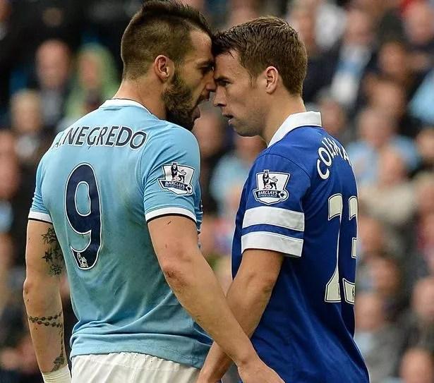 Seamus Coleman takes on Alvaro Negredo from Manchester City