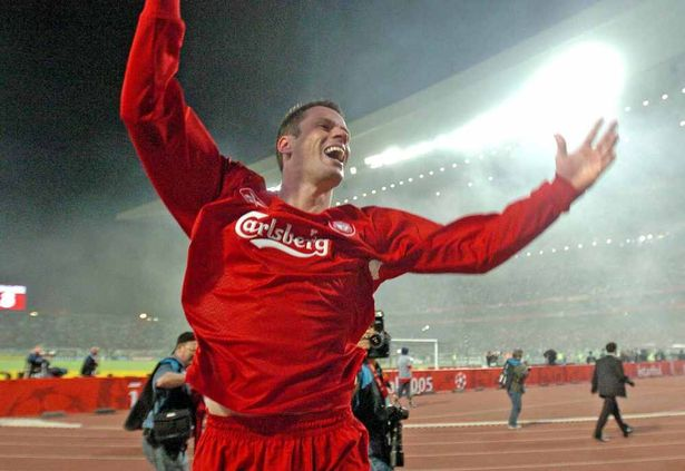 Pic Colin Lane Jamie Carragher Testimonial ... Champions League final Istanbul, Turkey European Cup while Jamie celebrates with the final whistle in 2005.