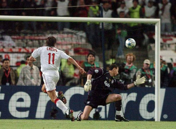 ISTANBUL, TURKEY - WEDNESDAY 25 MAY 2005: Liverpool's Jerzy Dudek is beaten by Henan Crespo for the third goal of AC Milan during the UEFA Champions League final at the Atatürk Olympic stadium in Istanbul. (Photo by Colin Lane / Propaganda)