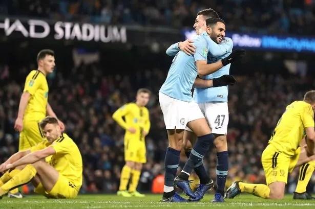 Riyad Mahrez Celebrates Scoring Citys Ninth Goal Against Burton Albion Image Pa