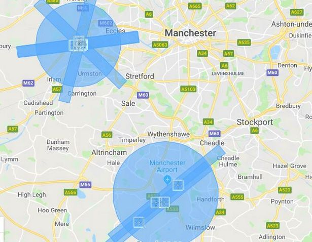 Manchester International Airport drone exclusion map.