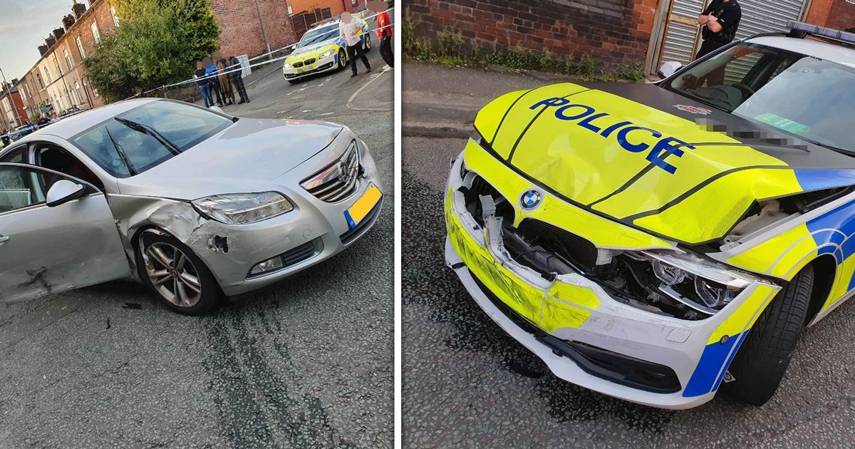 The aftermath of dramatic police chase following carjacking