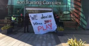 Manchester United fans are blocking the entrances to the Carrington test site in protest against the Glazers