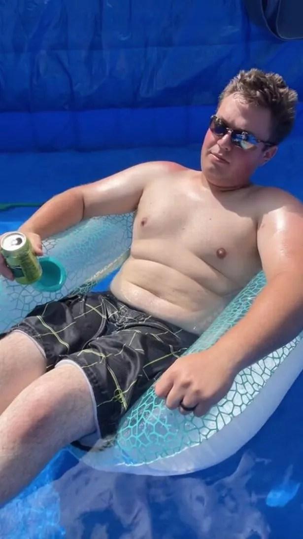 Caleb enjoys a ready-made swimming pool.
